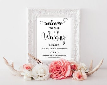 Welcome wedding sign printable - Welcome wedding sign - Printable wedding sign - Editable wedding signs instant download #WDH0038