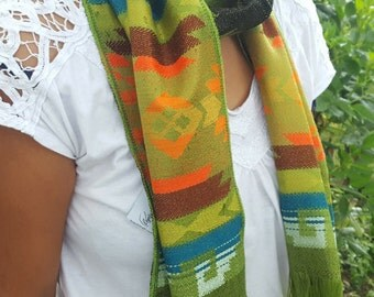 Alpaca Scarf Palm Green with Fringed Endings and Multi-color Geometric Designs made in Ecuador