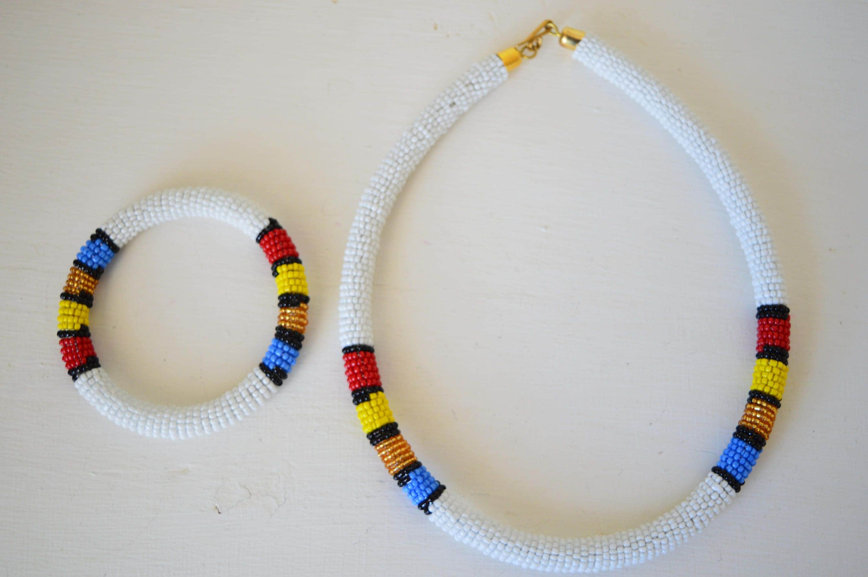 maasai beaded necklace with matching bracelet zulu