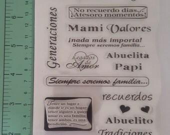 Sello de Espanol, Spanish Stamp, Nuestra Familia, Generaciones, Tradiciones, Familia, Siempre seremos familia, Mami, Papi, Tio, Tia