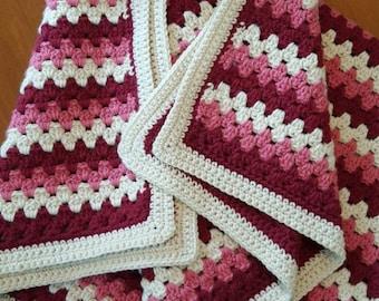 Oh So Rosey Crochet Blanket in Red, Pink and Ivory, Crochet Lapghan, Wheelchair Blanket, Toddler Blanket
