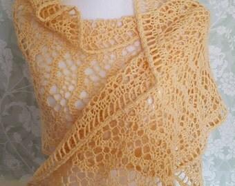 Long Lacy Pale Yellow Crochet Shawl, Rectangular Yellow Wrap, Lacy Shoulder Wrap