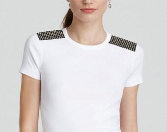 Black Epaulet Tshirt, Black Epaulettes, Sequin Shoulder Studs, Fashion Tshirt, Epaulette Tshirt, Black Shoulder Embellishments