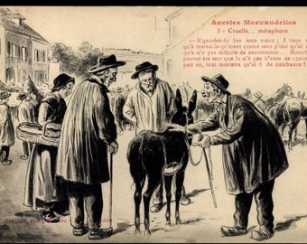 "c.1910s ""The Beggar"" ARTIST Postcard G. Garvais, edit. Le Morvan Saône-et-Loire, Men Buying from Beggar~ Unused"