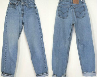 80s Levis 560 27 /2 /4 High Waist, 1980s, Distressed Faded Mom Jeans 27 x 33