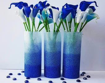 Wedding Centerpiece, Blue Ombre Vase, Glitter Vase, Blue Decor, Wedding Decor, Baby Shower Centerpiece, Bridal Shower Decor, SET OF 3