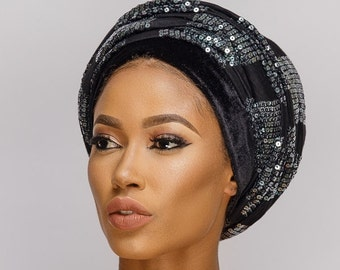 New Sequins Velvet Turbans, Doubled hand sequins Turban, Hijab Head Scarf, One Size Fits All.