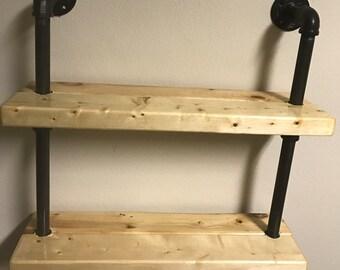 rustic double floating shelf