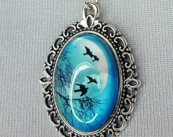 Beautiful necklace with Pendant in blue with birds, forest, fairies, trees jewellery chain, blue, white, silver