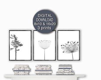 Digital Download - Scandinavian Modern Set of 3 Prints Gray Dorm Wall Art Decor 5x7/ 8x10 / 11x14 / 16x20 / A4 / A3