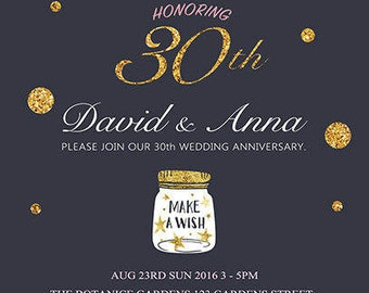 30th Wedding Anniversary Invitation. Gold Glitter.Lovely Wishing Pot. Blue Background. Any Year. Printable Digital. Customized Card<6>
