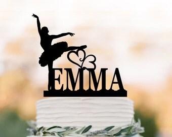 Ballerina birthday cake topper, personalized cake topper, Litle girl dancer birthday gift, unique cake topper for wedding, custom name
