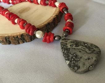 Jasper Red Bamboo & Pearl Necklace