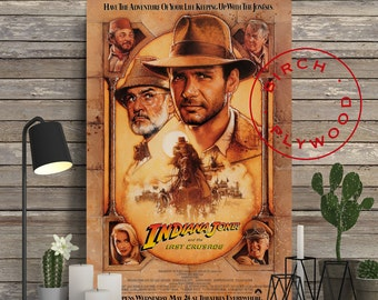 INDIANA JONES: The Last Crusade - Poster on Wood, Harrison Ford, Sean Connery, Steven Spielberg, George Lucas, Print on Wood, Wood Gift