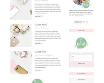 Custom WordPress Theme Template Responsive Blog // Divi Theme // Custom Website for Bloggers // Feminine Custom Website Design