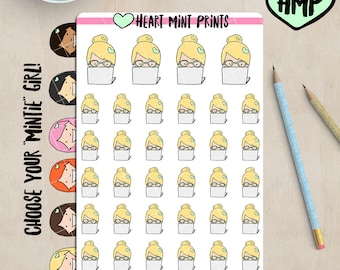 Study Planner Stickers - Girl With Glasses / Work Planner Stickers / Laptop Planner Icon / Youtube Binge Stickers / School Stickers