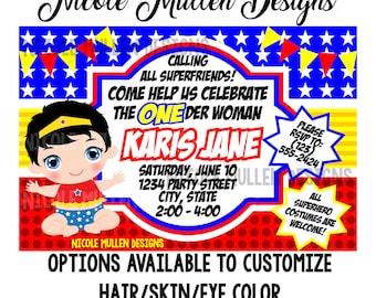 ONEder Woman Birthday Invitation - Printable CUSTOM Birthday Invitation - Wonder Woman Theme - Baby Girl First Birthday -  Wonder Woman Baby