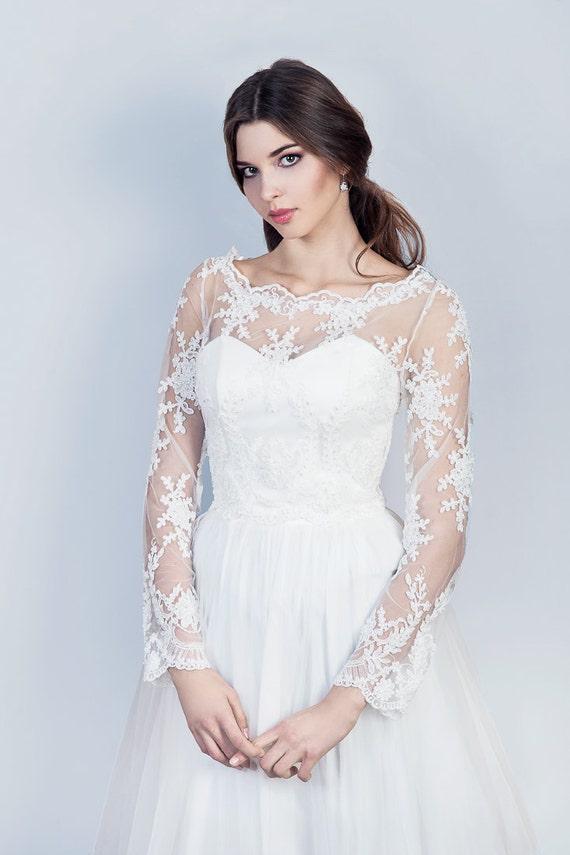 Long sleeve lace bolero bridal embellished lace topper wedding for Long sleeve wedding dress topper