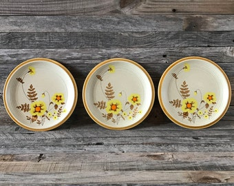 Set of 3 Vintage Mikasa Nature's Song Fernflower Salad Plates, Mikasa Natures Song, Stoneware Salad Plates