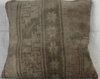 16x16 Pillow Case, Turkish Rug Pillow, Vintage Pillow Cover