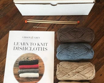 Learn to Knit Dishcloth Kits - 2 Colour Choices