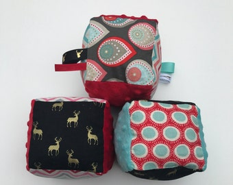 SALE!! Fabric Blocks- Set 3-Stacking- Plushie- Soft- Activity- Ribbon- Plush- Toddler Toys- Deer -Baby Shower Gifts- Stackable - Tagged- Tag