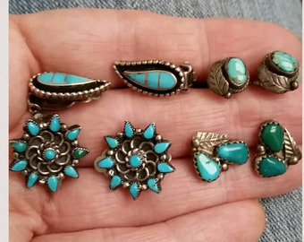 4 Sterling Silver Turquoise Earrings vintage 2 are Clips 2 are posts