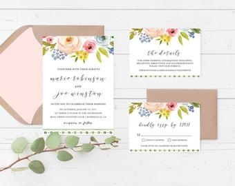 Floral Boho Printable Wedding Invitation Suite, Flowers, Simple, Bohemian, Greenery, Botanical, Tribal Custom Printable Wedding Invite Set