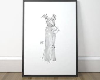 Fashion Illustration Poster, Vintage Fashion Illustration, Fashion Drawing Print, Vintage Illustration Art, Instant Download, Digital Print
