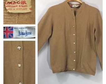 Vintage Cardigan Camel Hair Wool 60's 70's Neiman Marcus Made in Scotland UK Jaeger bust 40