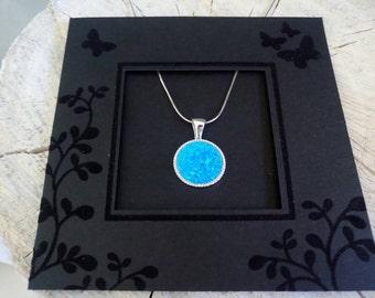Opal blue, circle CZ pendant, sterling silver, opal jewelry, Colgante de ópalo, Pendentif en opale, Colgante de ópalo, Opal-Anhänger