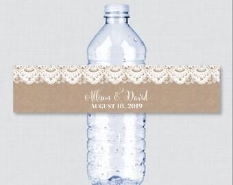 Printable OR Printed Wedding Water Bottle Labels - Rustic Burlap and Lace Custom Water Bottle Labels - Personalized Water Bottle Labels 0002