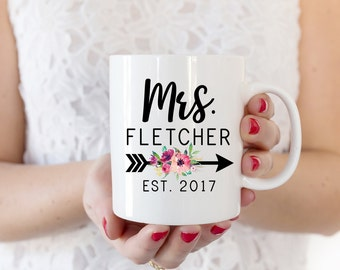 Mrs Mug | Engaged Cups | Engagement Gift | Personalized Future Mrs Mug | Floral Gift for Her | Gifts for the Bride | Custom Tea Cup for Her