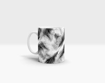 Black and White Feathers Mug. 11oz Ceramic Mug.