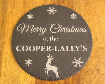 Personalised Slate Plaque, Christmas Plaque, Personalised Christmas Hanging Slate, Christmas Cheeseboard, Christmas Gift,Slate