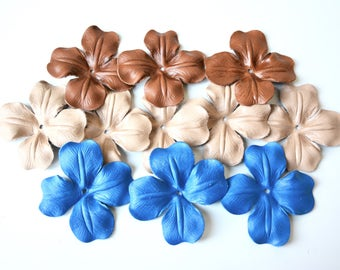 leather flowers set of 11 pcs