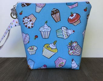 Project Bag, Knitting Bag, Knitting Project Bag, Crochet Bag, Wedge Bag, Zippered Pouch Bag, Sock Knitting, Cupcakes