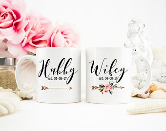 Hubby and Wifey Mug, Wifey Gift, Hubby Mug, Mr and Mrs, Wedding Gift, Honeymoon Mugs, Hubby Wifey mugs, Bridal Shower Gift, Mug Set, AAA_001