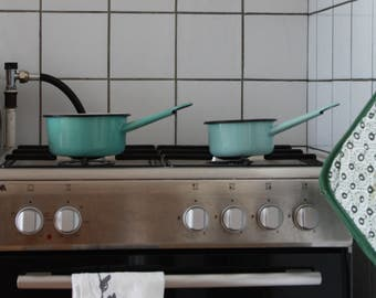 Blue Enamel Pots/Saucepans Set of 2