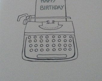 Greeting card with typewriter drawing for writers or book worms