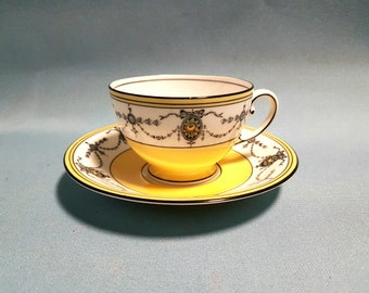Aynsley Art Deco Yellow Teacup and Saucer Pattern #3520