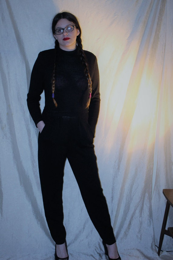 vintage st john knit black one piece jumpsuit romper unique. Black Bedroom Furniture Sets. Home Design Ideas