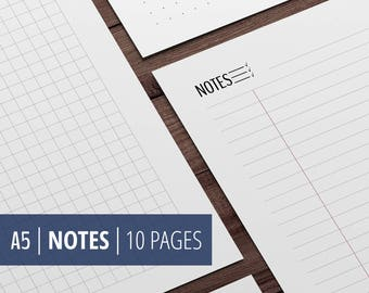 A5 Notes Page (Lined + Squared + Dotted grid + Blocks) - Filofax and Kikki Planner Printable Insert - Black & White - Instant Download