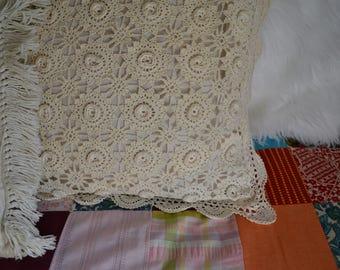 Vintage Crochet Pillow Case Bedding bohemian/country/rustic/lace decor
