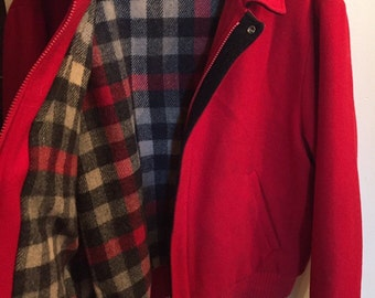 Vintage Woolrich Red Bomber Jacket, Women's Red Wool Coat