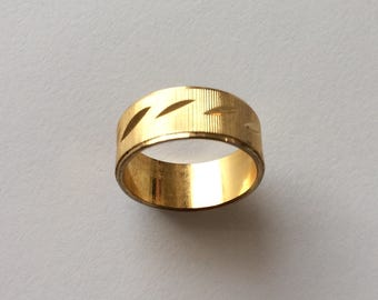 Vintage 1980's Ridged Gold Plated Ring Statement Band Couple Promise Gift