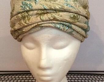 turban hat turqoise and gold lurex vintage