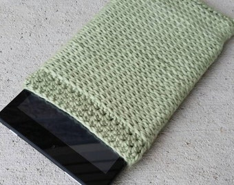 Green Crochet Tablet Cover, Crochet Amazon Fire Case, Crochet E-reader Cover, Green Electronic Case, Soft Tablet Sleeve, Crochet Pouch