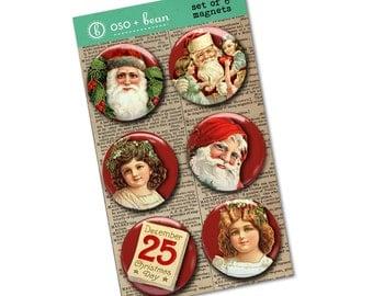 Vintage Christmas Magnet Set | Santa magnet | December 25 | Merry Christmas magnets | Holiday Decor | Stocking Stuffer