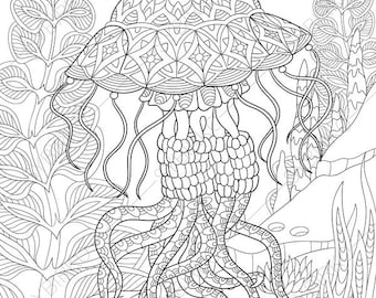 Jellyfish Animal Coloring Pages. Jellyfish  Jelly fish 2 Coloring Pages Animal coloring book pages Ocean World Dolphin